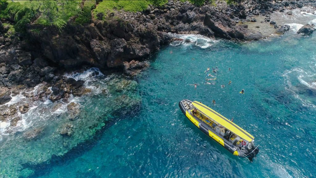 arial shot of a snorkel trip in Shark Cove in Makena