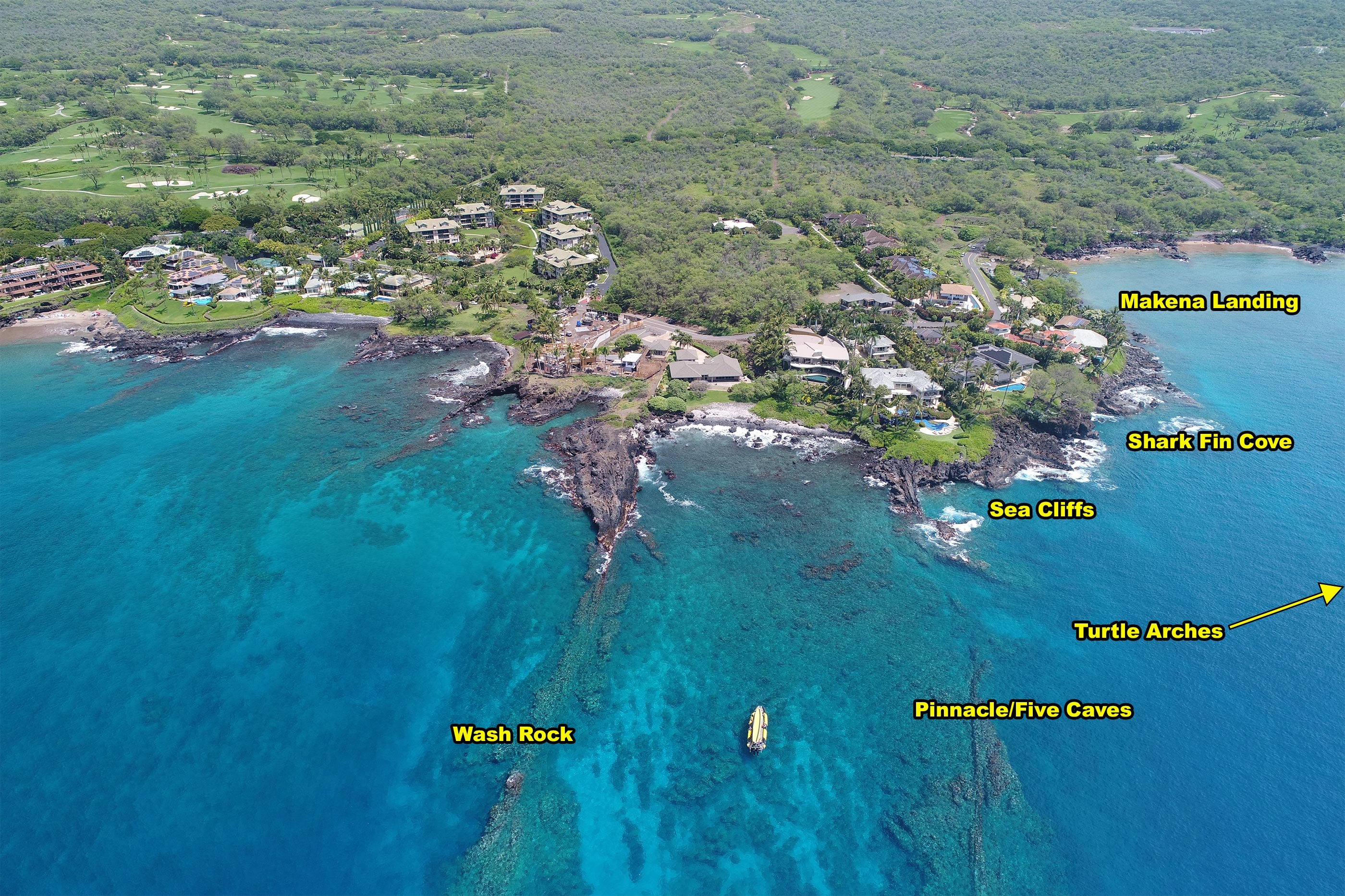 Arial photo of Turtle Town snorkeling spot